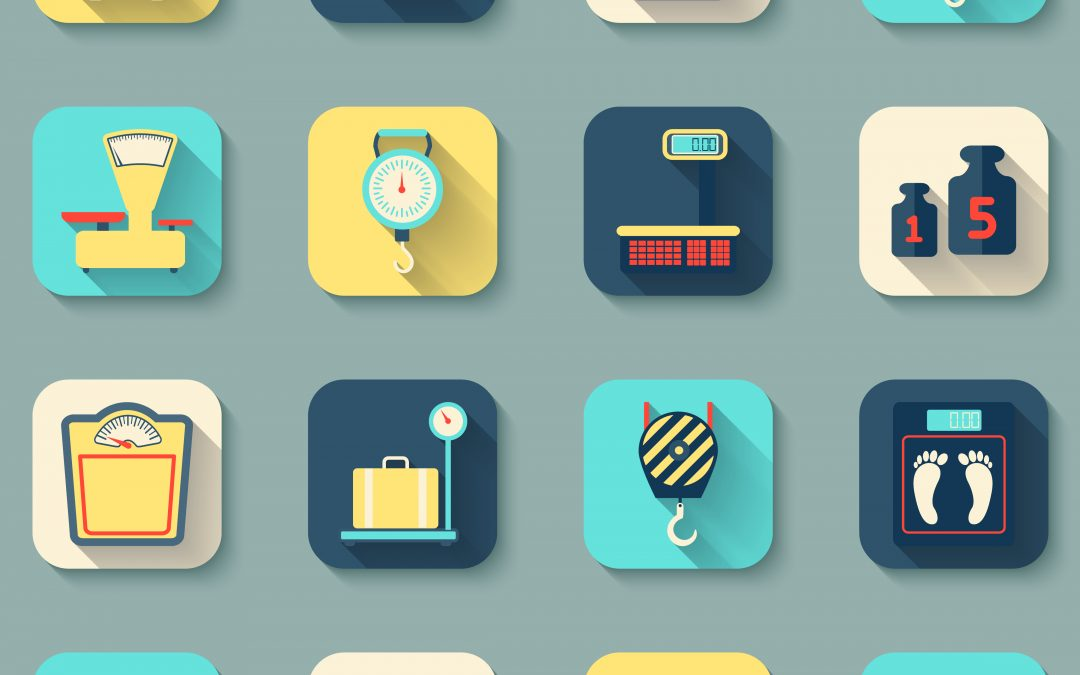 Scales Weight Icons Flat